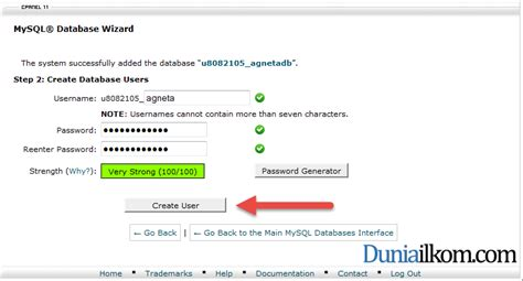 membuat database user dengan mysql cara membuat database mysql di cpanel web hosting duniailkom