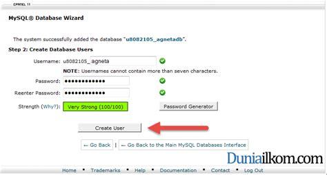 membuat database mysql online cara membuat database mysql di cpanel web hosting duniailkom
