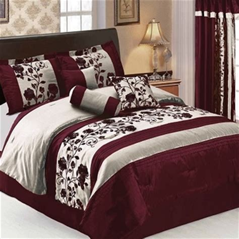 burgundy comforter queen tophatter 7pc queen only burgundy juliana floral comforter