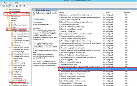 open policy management console it admin guide for explorer 11 settings