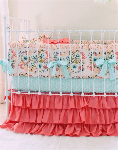 blush crib bedding blush floral baby crib bedding set farmhouse chic nursery lottie da