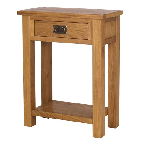 Narrow Oak Console Table Solid Oak Narrow Console Table 1 Drawer Lower Shelf Ebay