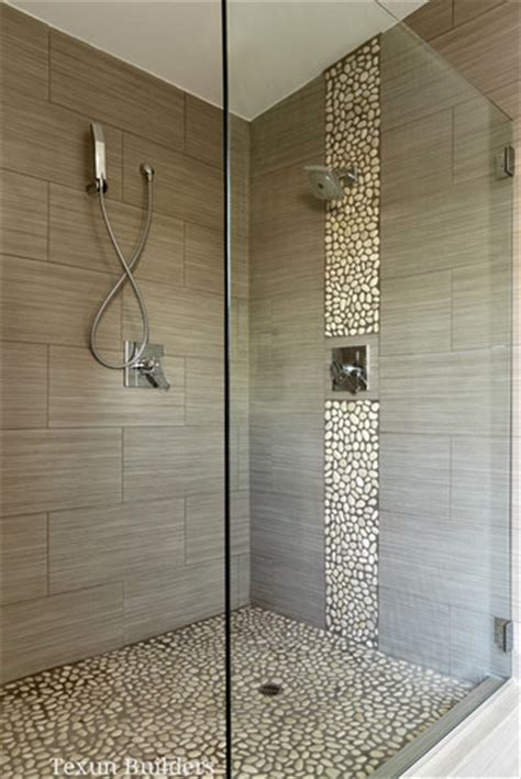 river rock shower floor bathroom remodel master walk in shower modern bathroom love the river rock