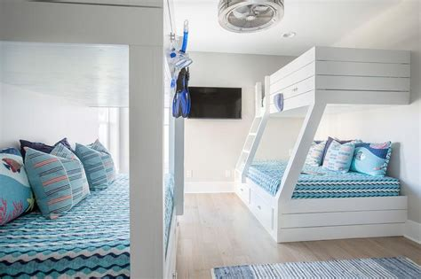 built in bunk beds cottage boy s room hickman design white shiplap bunk beds built in ladder cottage boy s room