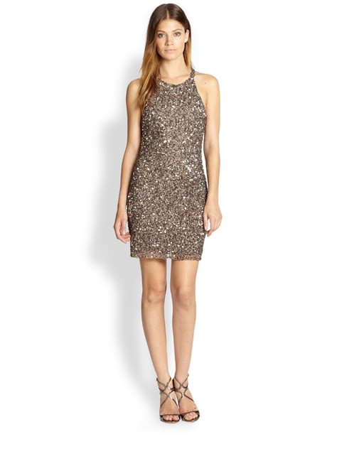 taupe beaded dress beaded dress in gray taupe lyst
