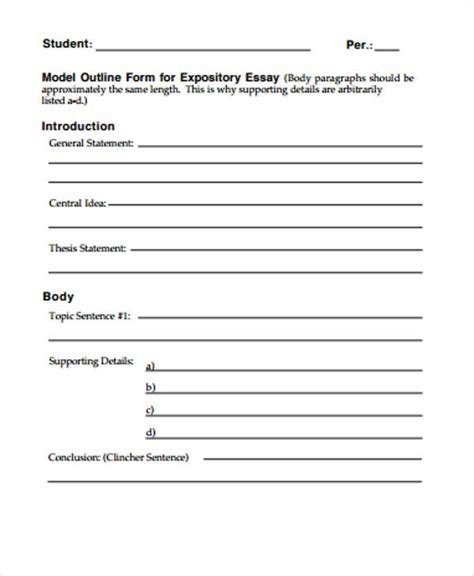 Expository Essay Outline Exle by Sle Expository Essay 8 Exles In Word Pdf