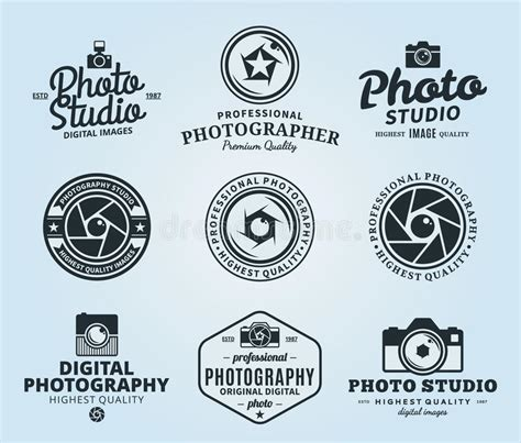Photography Studio Logo Labels Icons And Design Elements Stock Vector Illustration Of Studio Label Templates