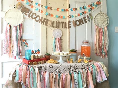 Welcome Little One Banner for Baby Shower. Boho Modern Baby