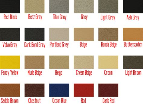 types of colors leather types colours signature