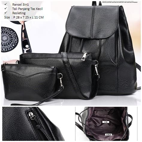 Black Set 3in1 jual b2872 black tas ranse set 3in1 grosirimpor