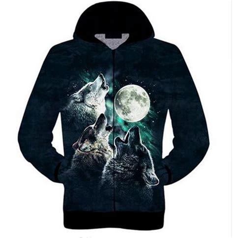 Hoodie Sweater Wolfs Premium unisex howling wolf 3d print sweatshirts zipper