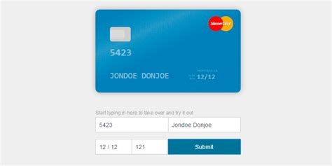 credit card css template card html css credit card visual form bypeople