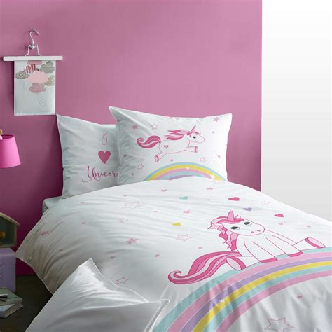 parure de lit r 233 versible licorne linge de lit blanc