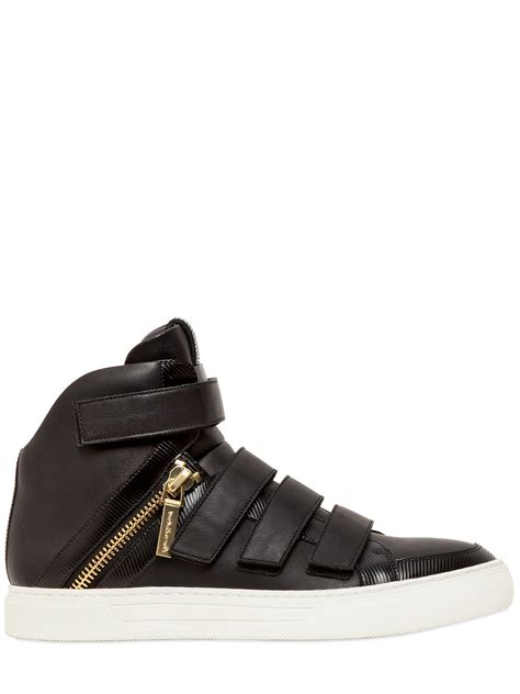 balmain sneakers mens balmain velcro nappa leather high top sneakers in black