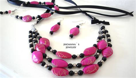 beautiful pink and black beaded handmade jewelry set with