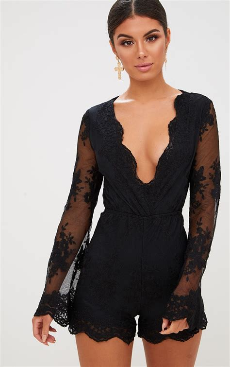 Bell Sleeve Playsuit black lace bell sleeve playsuit playsuits