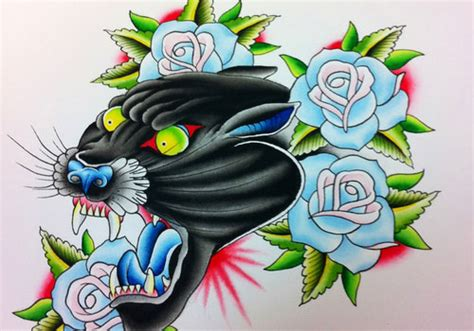 panther and rose tattoo panther images designs