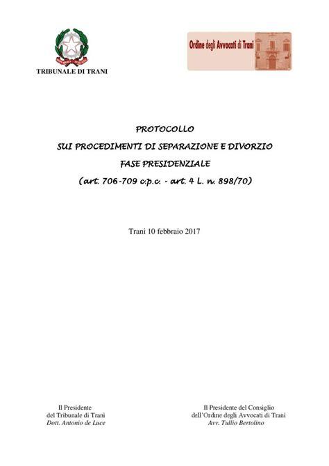 avvocato d ufficio per divorzio protocollo sui procedimenti di separazione e divorzio