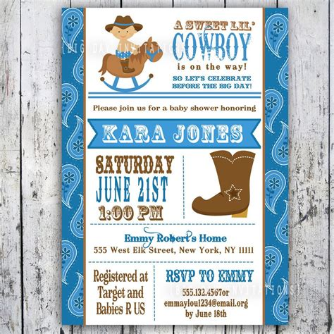 Lil Cowboy Baby Shower Invitation Custom Printable Free Western Baby Shower Invitation Templates