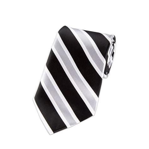 05 L Silver l 05 black silver and white wide striped woven necktie