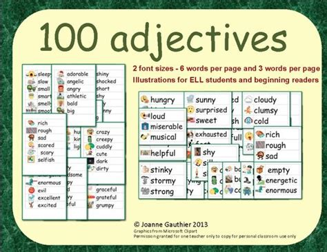 4 Letter Words Adjectives adjectives word wall the o jays paper and larger