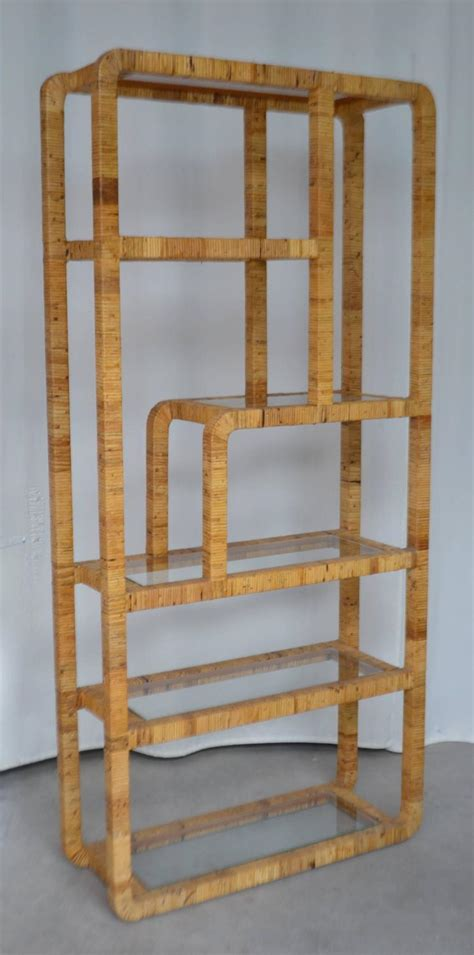 mid century rattan bookcase at 1stdibs
