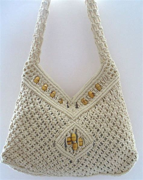 How To Macrame A Purse - vintage macrame festival shoulder bag with wood