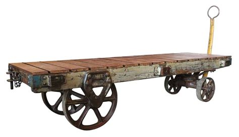 industrial vintage factory cart coffee table olde - Vintage Industrial Factory Cart Coffee Table
