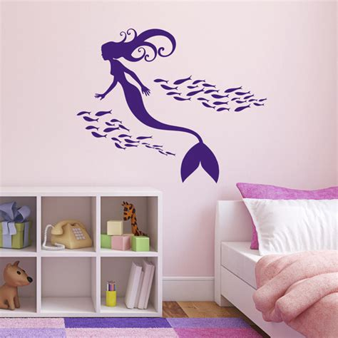 mermaid wall sticker mermaid and shoal of fish wall sticker mermaid room