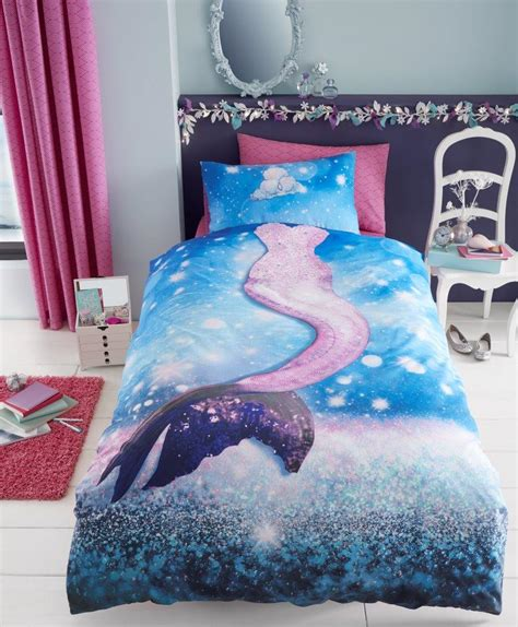 Mermaid Selfie Girls Kids Single Duvet Quilt Cover Mermaid Bedding Set