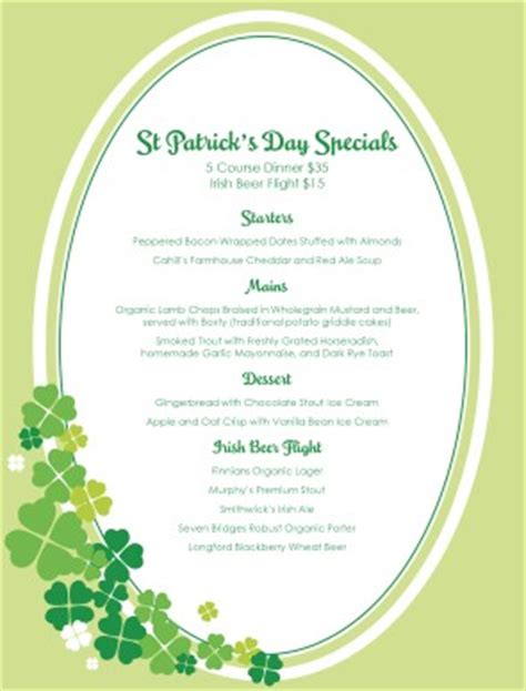 st templates st patricks day parade menu st patricks day menus