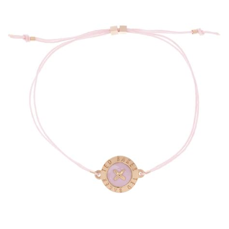 Ted Baker Ellysia Big Button Pink Rose Gold Cord Bracelet at Jewellery4.com