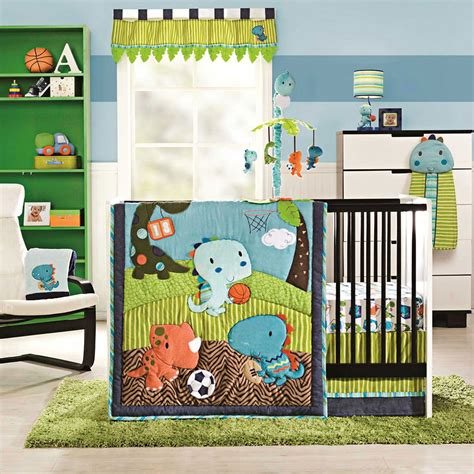 boy crib bedding sets kidsline dino sports 4 piece crib bedding set