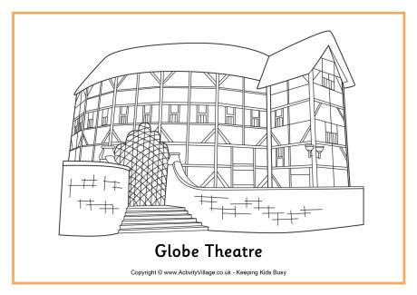 The Globe Theatre Outline by Globe Theatre Colouring Page