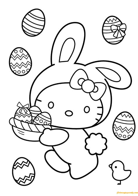 hello kitty easter coloring pages to print hello kitty easter bunny coloring page free coloring