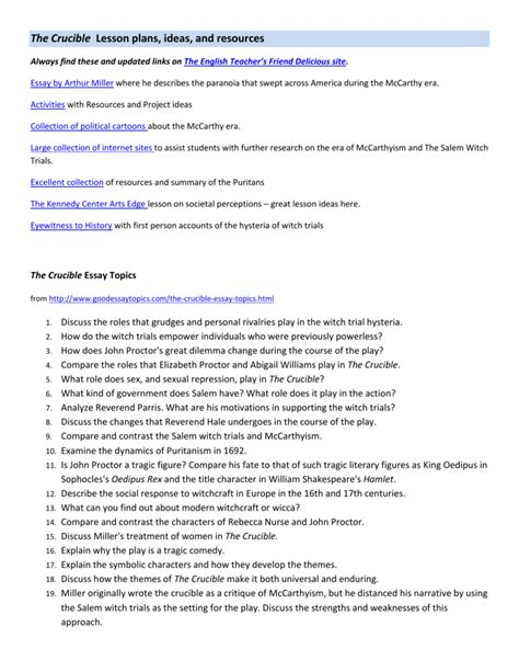 Johns Essay Word Limit by Essay Topics For The Crucible By Arthur Miller Docoments Ojazlink