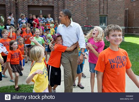 obama house buying program us president barack obama greets children from the valleyland kids stock photo