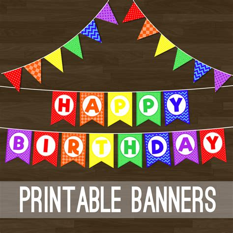 printable rainbow birthday banner printable rainbow bunting rainbow flag banner and happy