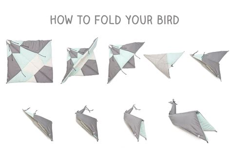 How To Fold Paper Into A Bird - play fold bird folding blanket fabelab