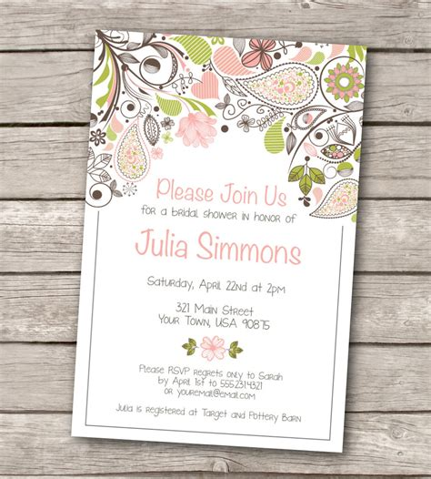 printable invitations on etsy bridal shower invitation custom printable by westandpine