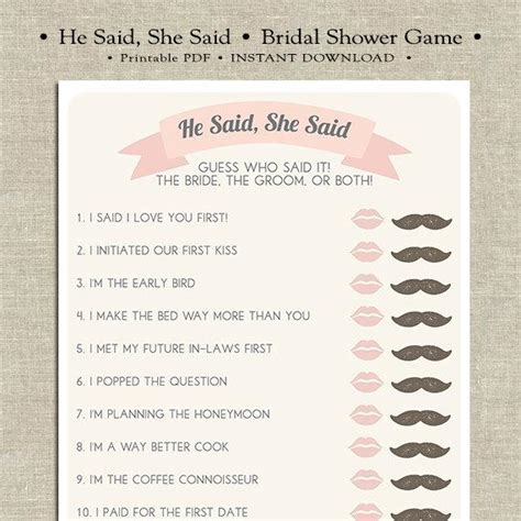he said she said printable bridal shower by merrilydesigns - He Said She Bridal Shower