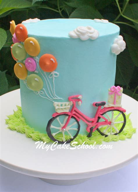 Cake Decoration Bicycle by Bicycle And Balloons Cake Free Cake Tutorial Cake School