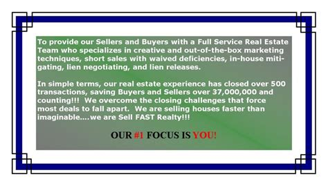 buying a short sell house mission statement sell fast realty
