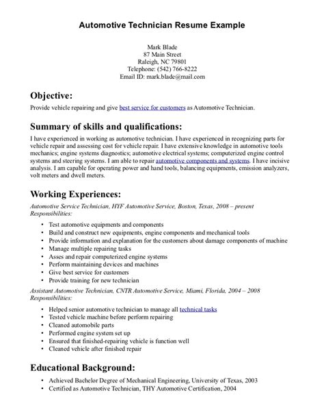 auto mechanic resume sle with excellent summary of skills and qualifications and list of work