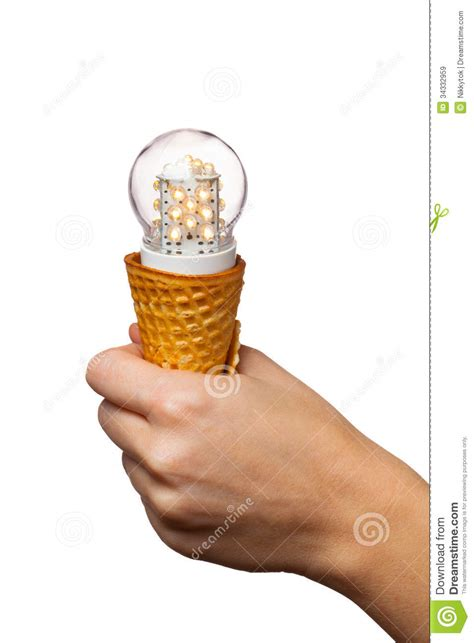 Ice Lamp hand holding led lamp in ice cream cone royalty free stock