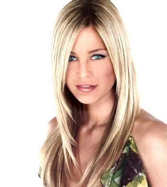 new hair styles for blondes apple face long layered hair style with very long sidepart bangs