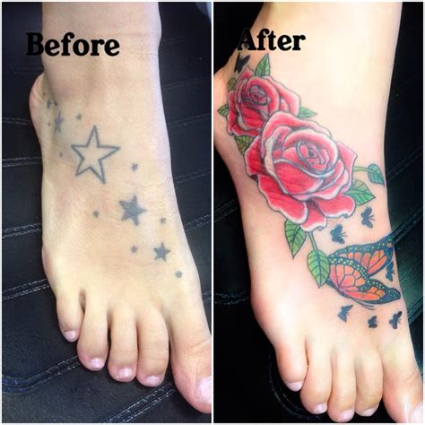 rose  butterfly foot tattoos