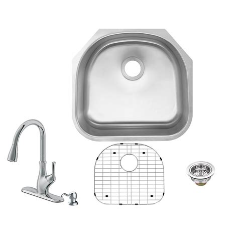d shaped undermount stainless steel sink glacier bay undermount 18 stainless steel 23 in 0