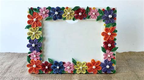 How To Make Photo Frame With Handmade Paper - how to create a colorful floral photo frame diy crafts