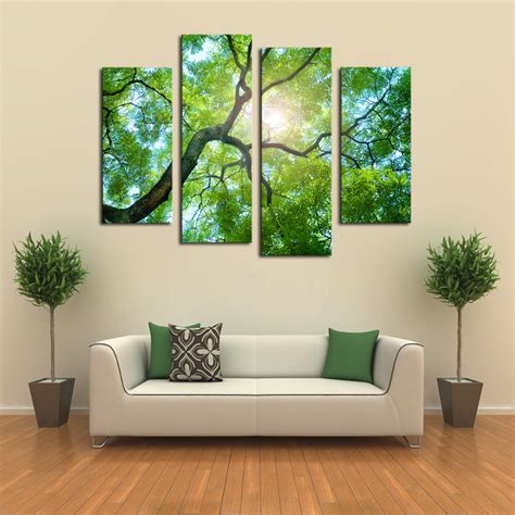 living room canvas 4 panels no frame green tree painting canvas wall art